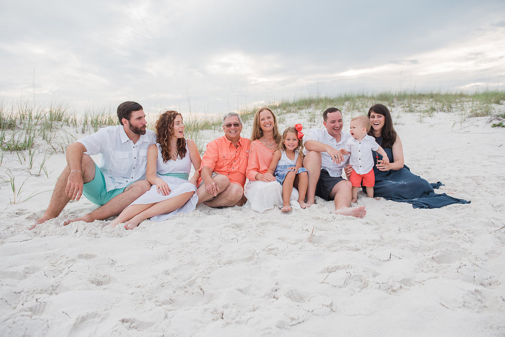 large family at beach-pensacola photographer