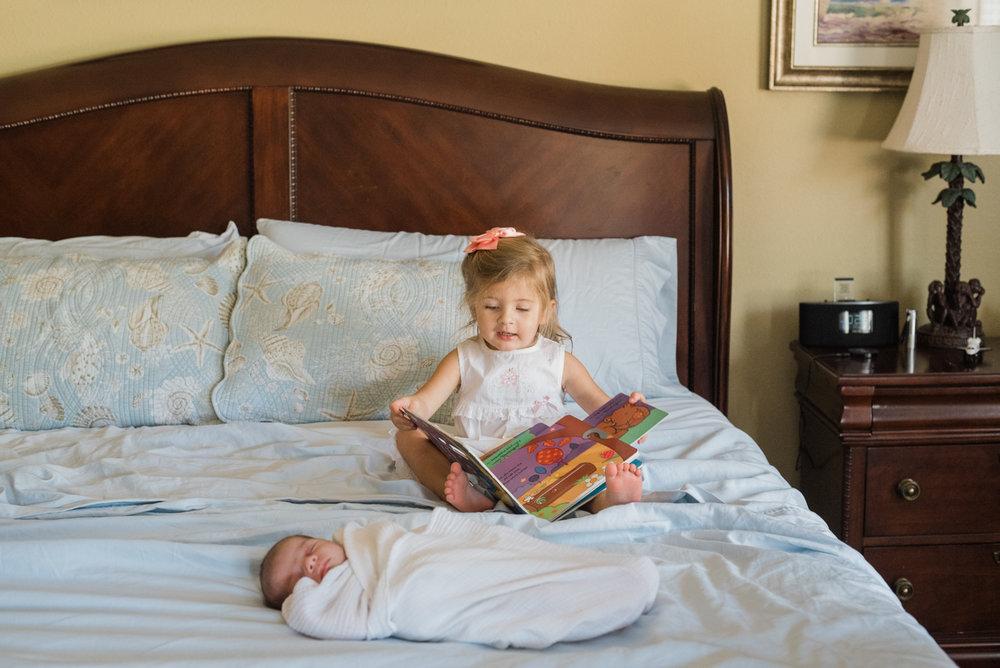 baby and sister-pensacola newborn photographer