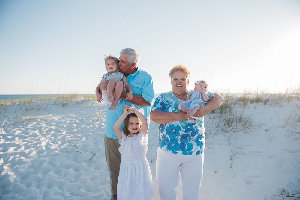 grandparents with kids at beach-pensacola family photographer