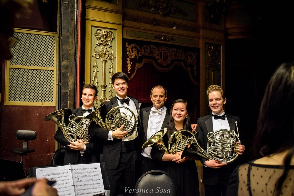 Anton Gillespie '18, Alec Jones '19, Federico Cortese, Anna Peng '20, and Simon Eder '20 pose after the Cordoba concert