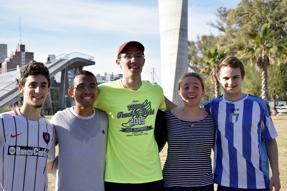 Franco Baldassini, John Austin '17, Nick Pham '19, Mara Roth '19, and Bennett Parsons '18 take a team photo after a soccer game  Photo by Ellis Yeo '20