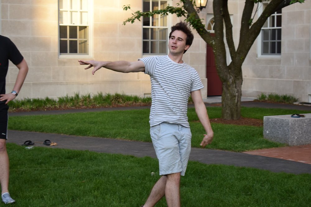 Anton Gillespie '18 flings a frisbee with the greatest of ease  Photo by Ellis Yeo '20