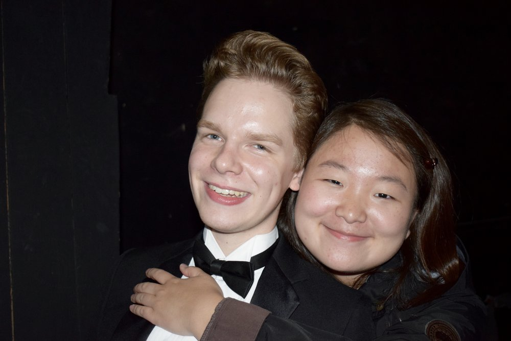 Simon Eder '20 and Yooree Ha '20 celebrate after the Cordoba concert  Photo by Ellis Yeo '20