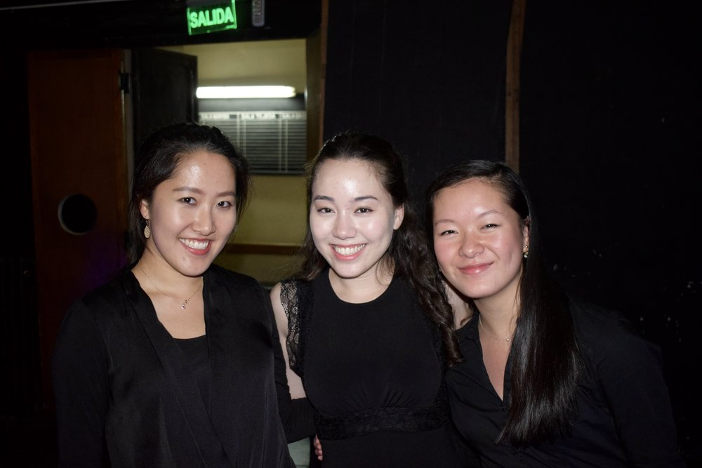 Ellis Yeo '20, Alexis Ross '20, and Anna Peng '20 celebrate after the Cordoba concert