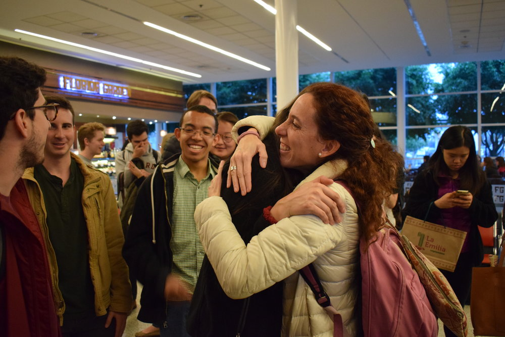 Farewell hugs with tour manager Carla  Photo by Ellis Yeo '20
