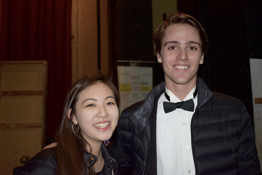 Erica Chang '19 and Sasha Scolnik-Brower '17 smile backstage in Cordoba  Photo by Ellis Yeo '20