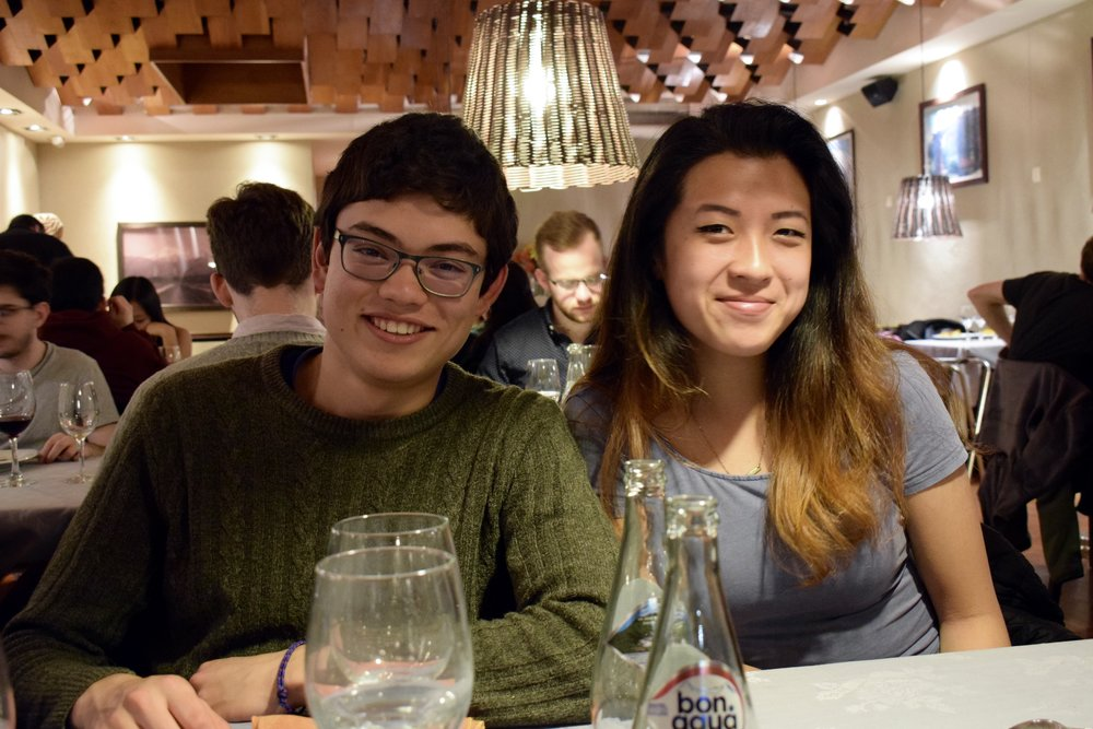 Alejandro Gracia-Zhang '20 and Diana Wang '20 sit together at the farewell dinner  Photo by Ellis Yeo '20