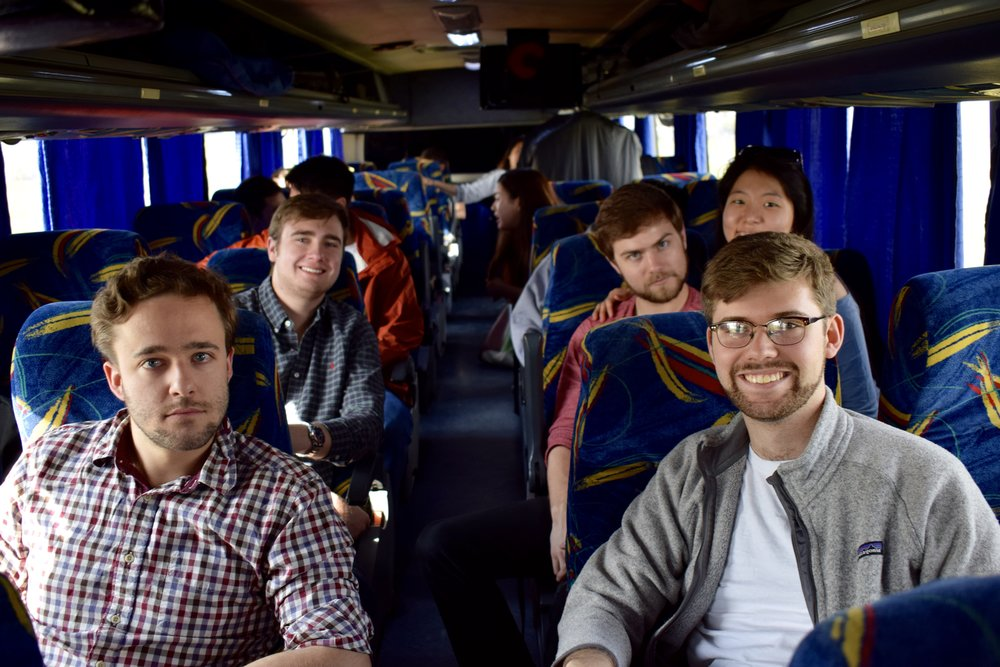 Tommy Peeples '17, William Brechtelsbauer '19, Patrick Sanguineti '17, NaYoung Yang '18, and Henry Shreffler '18 ride a bus in Argentina  Photo by Ellis Yeo '20