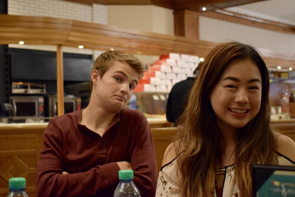 Bennett Parsons '18 and Jeanna Qiu '20 wait for dinner to arrive   Photo by Ellis Yeo '20