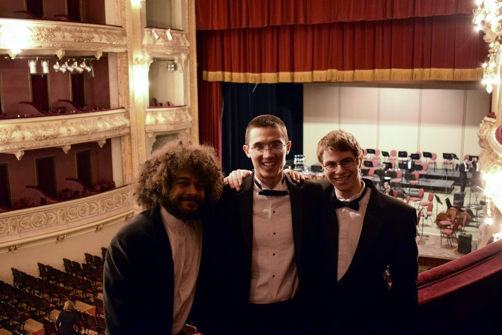 Matthias Pergams '19, Nick Pham '19, and Kai Trepka '20 pose before a concert in Rosario  Photo by Ellis Yeo '20