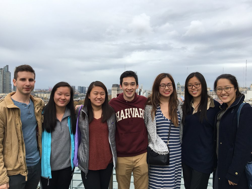 Anton Gillespie '18, Anna Peng '20, May Wang '20, Brandon Duffy '20, Jeanna Qiu '20, Angela Tang '20, and Ellis Yeo '20 stand on a Buenos Aires rooftop