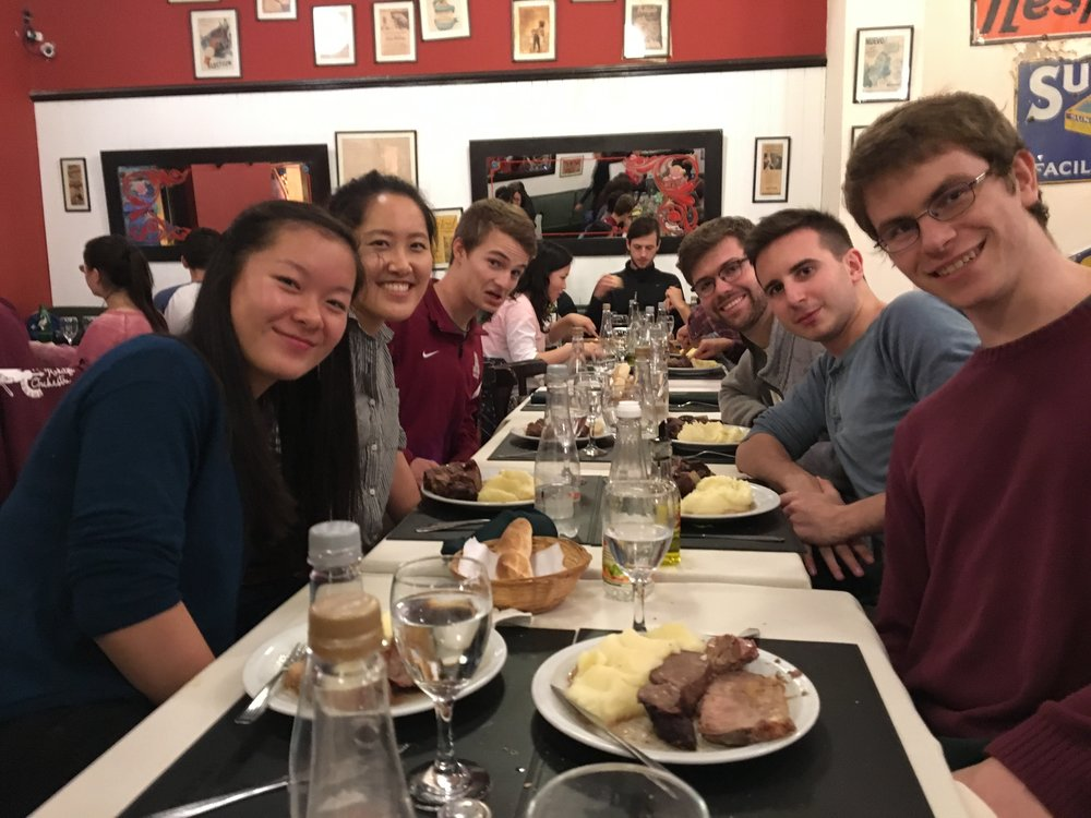 A group of HRO members enjoy a meal of beef and potatoes - a common sight on tour!  Photo by Ellis Yeo '20