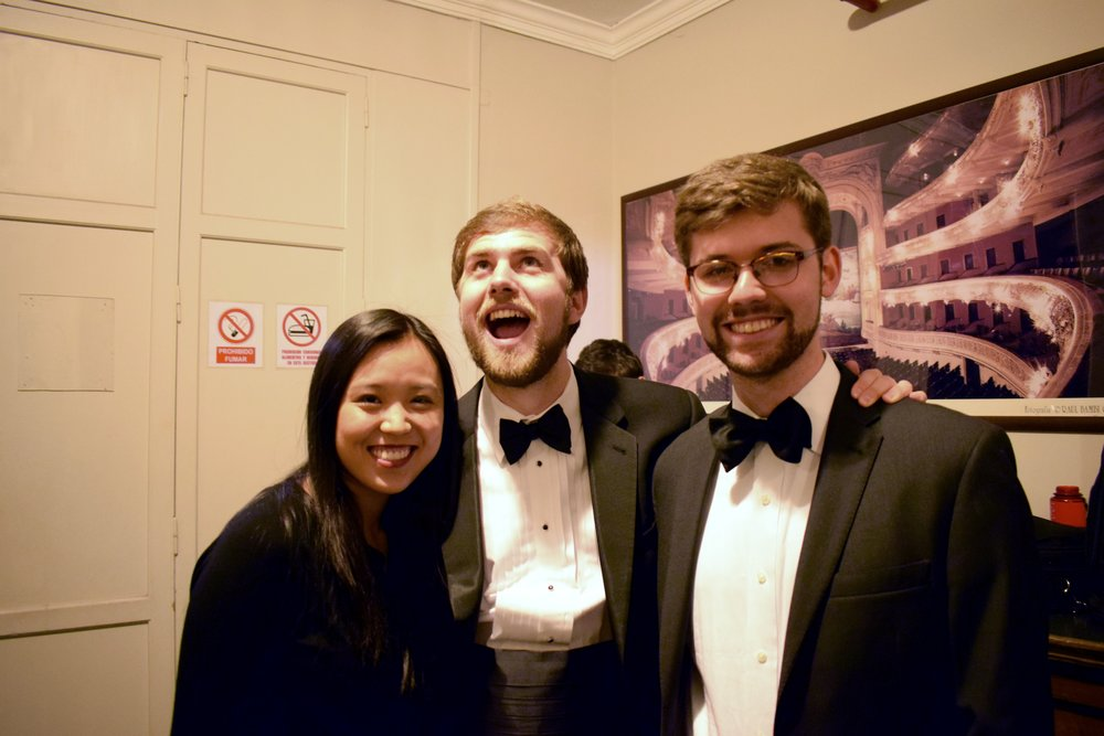 Angela Tang '20, Patrick Sanguineti '17, and Henry Shreffler '18 get pumped up before a concert  Photo by Ellis Yeo '20