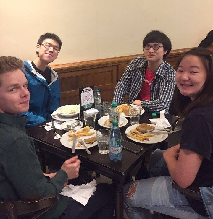 Simon Eder '20, Eric Zhou '20, Bihn Park '19, and Yooree Ha '20 enjoy a meal of meat and potatoes   Photo by Ellis Yeo '20
