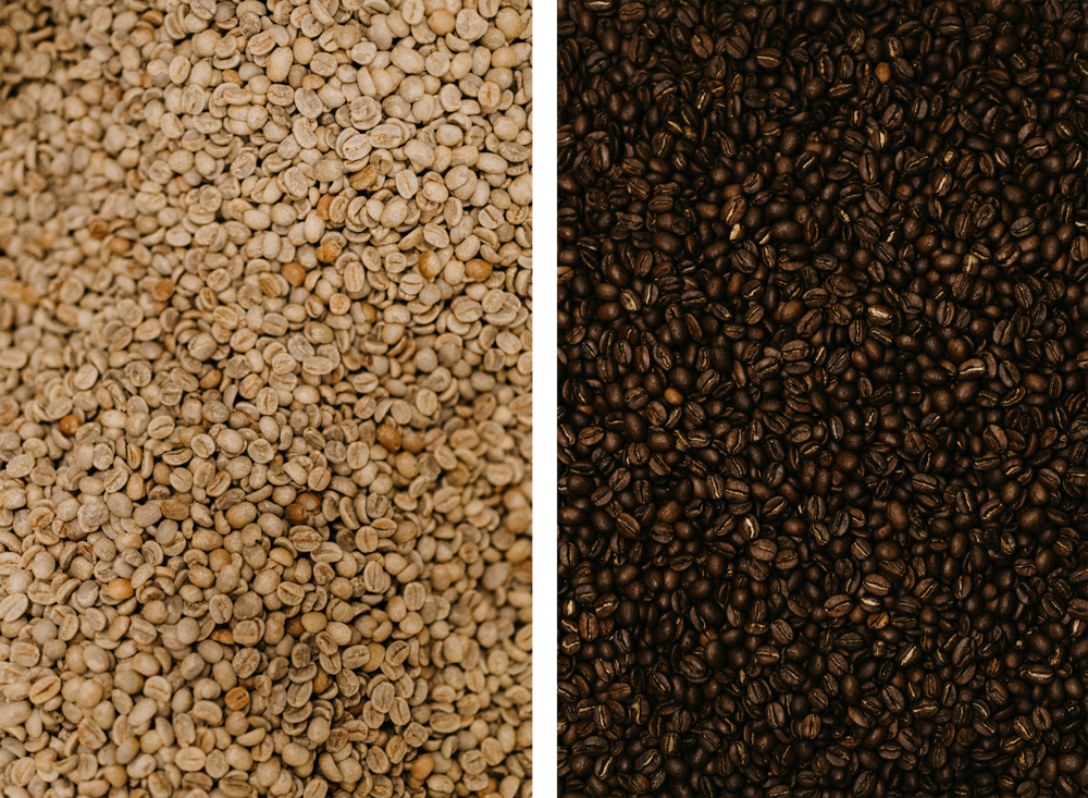 Photo of coffee beans before and after roasting