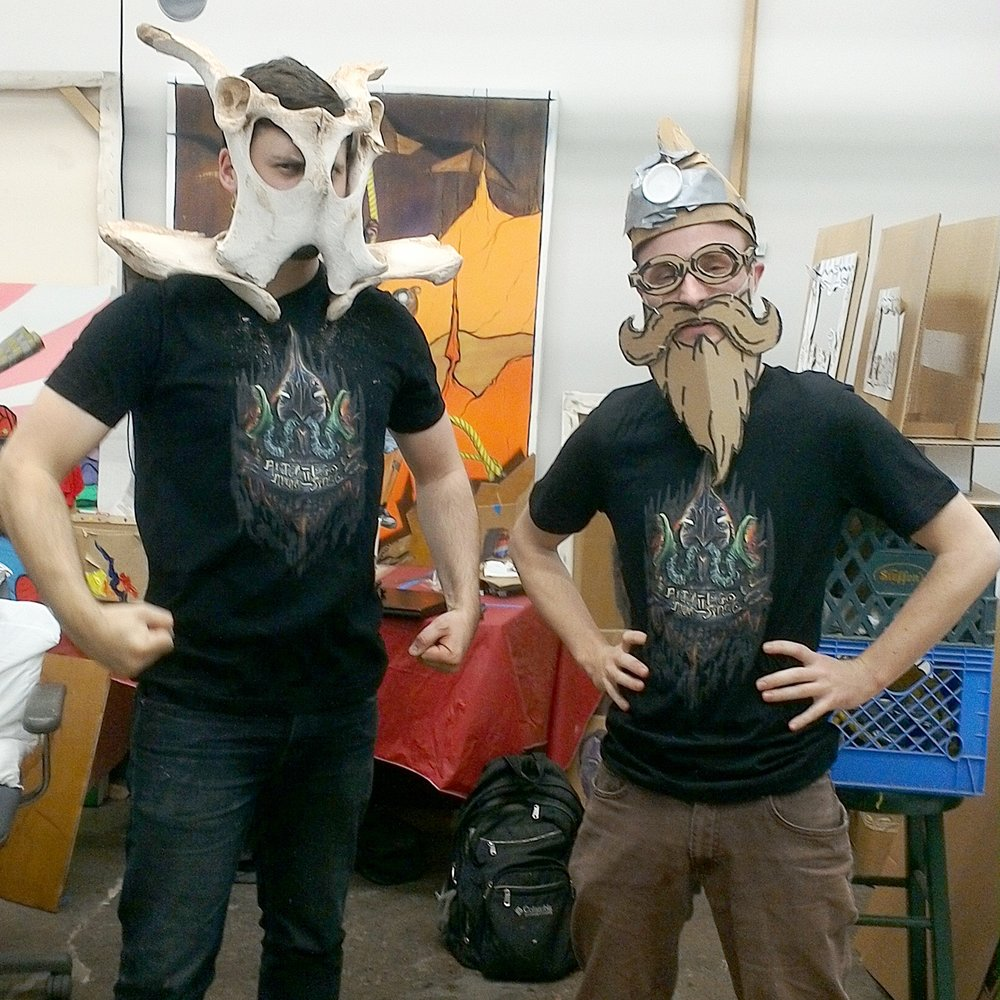 Ross Quesnell (left) and Matthew Hoelscher (right) modeling their Alter Ego || Altar Space tees in Matt's studio. Don't delay, order yours today! ((Cardbeard and pelvis helm not included))