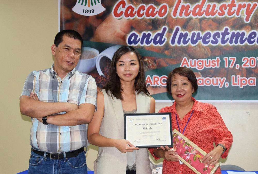 (L-R):  Engr. Edwin Banquerigo (  ARD DTI Davao);  Kelly Go (  Oro   Managing Director); Marceline Alcantara (ARD DTI IV-A).