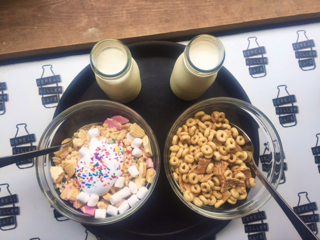Left: a homemade concoction called Unicorn Poop which is mostly sprinkles and marshmallow fluff. Right: Cinnamon Toast Crunch + Honey Cheerios