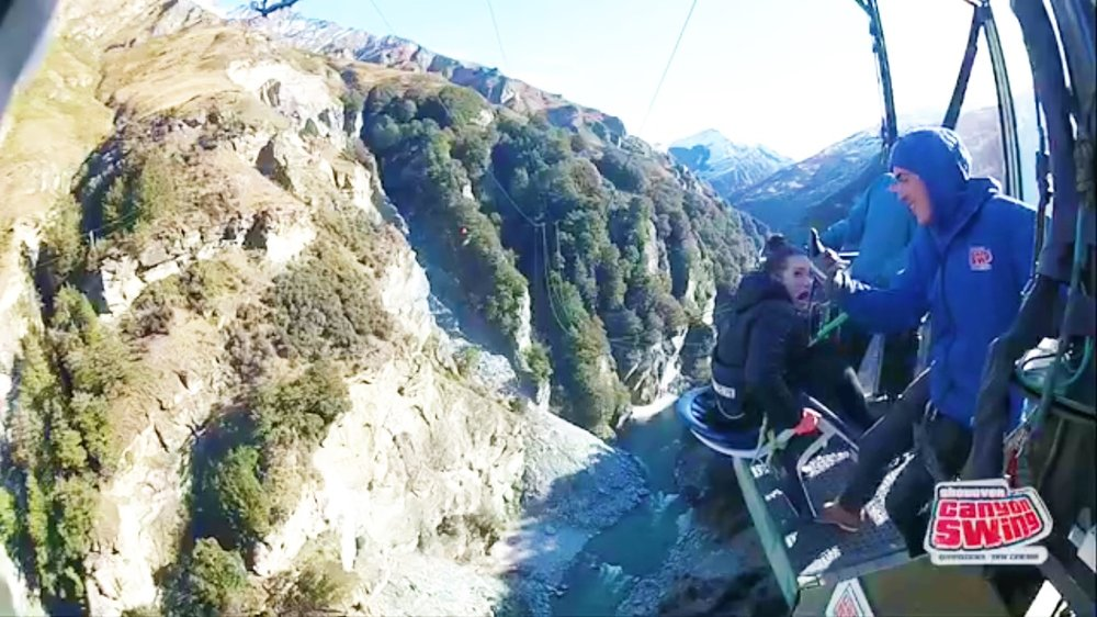 Canyon Swing - they put me in a chair and taunted me for a few minutes before they kicked me off a ledge