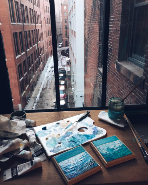 Ashley's workspace in her studio