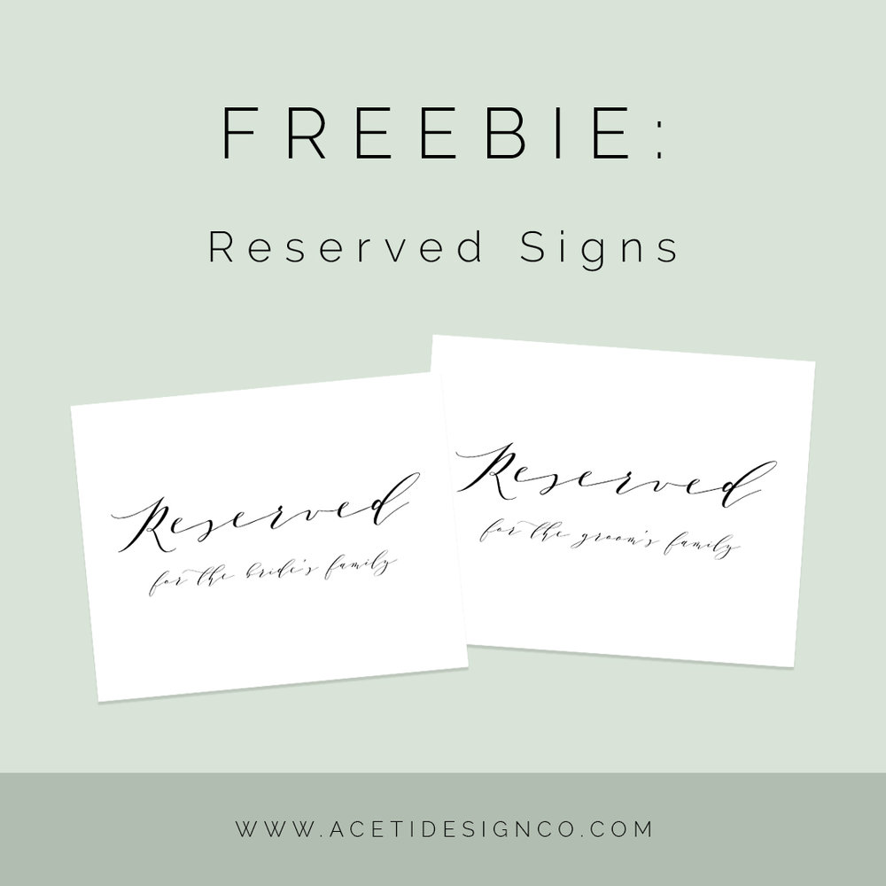 FREE reserved signs for wedding (printable)