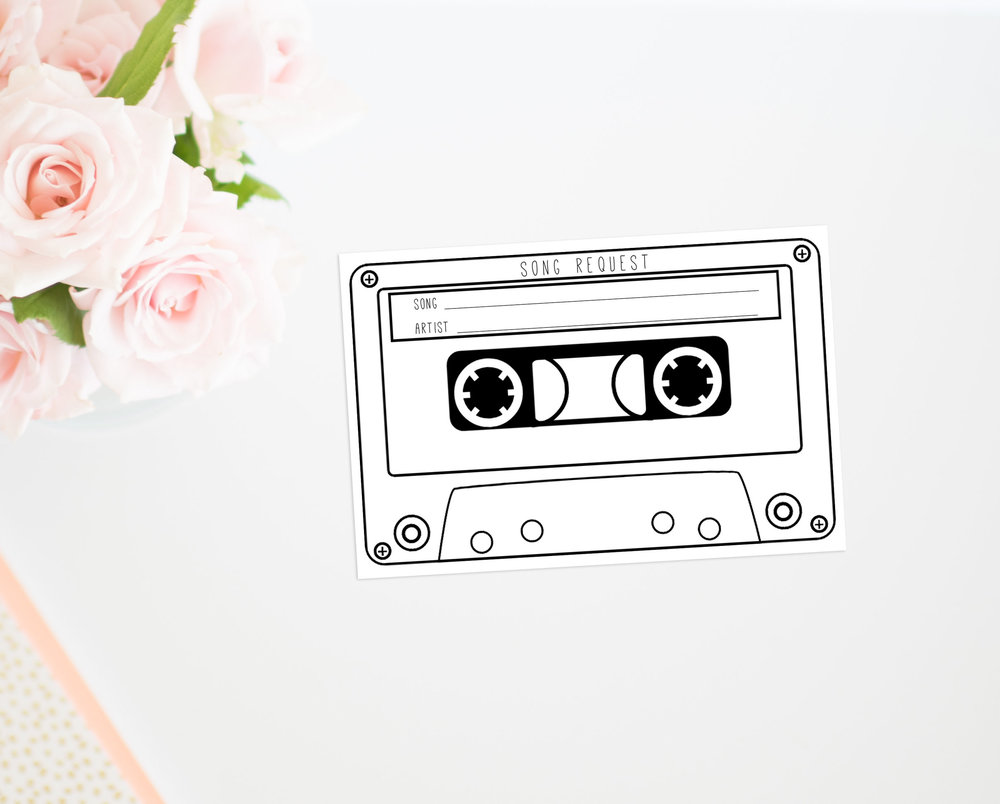 Cassette song request printable wedding insert
