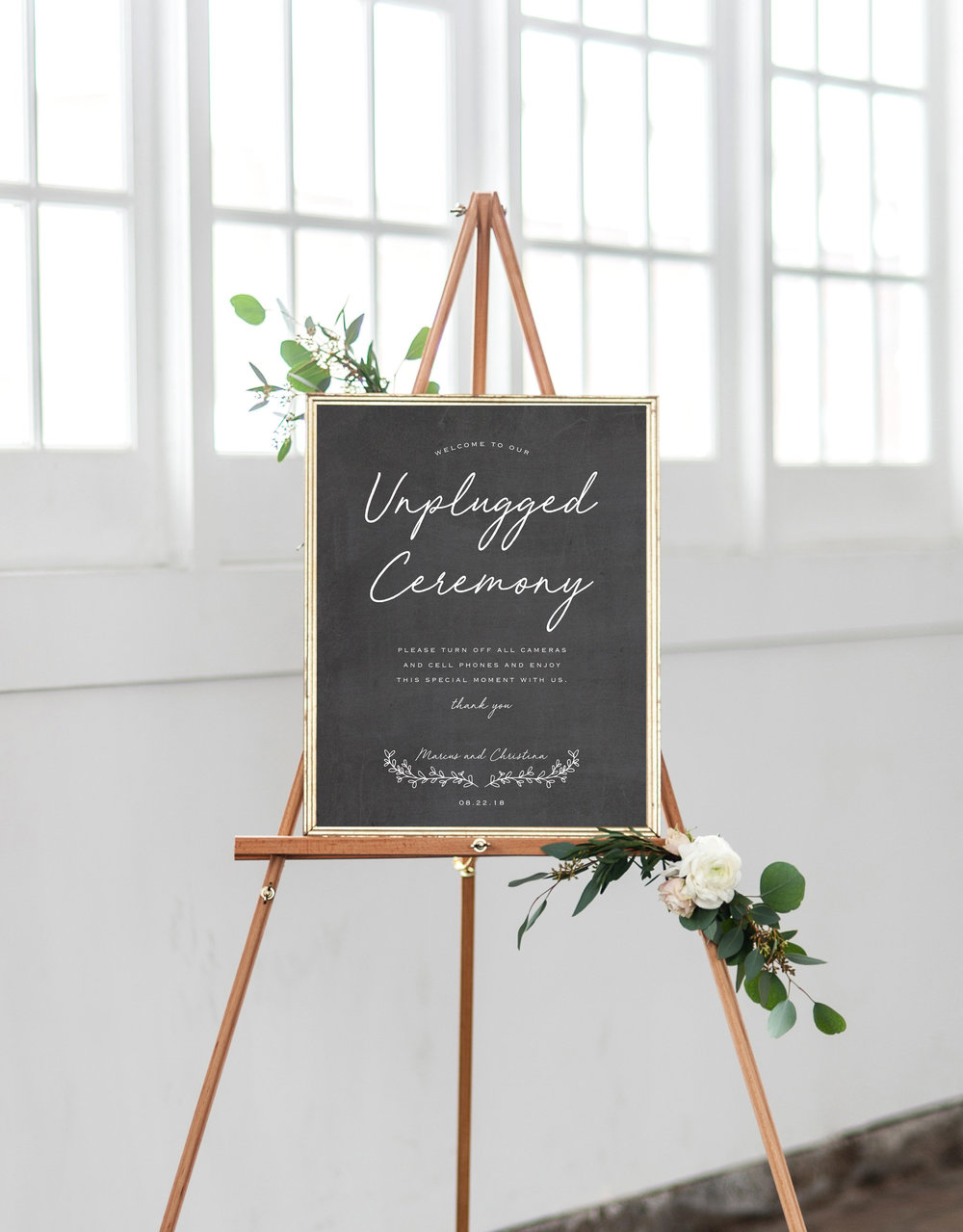 Unplugged ceremony sign for wedding