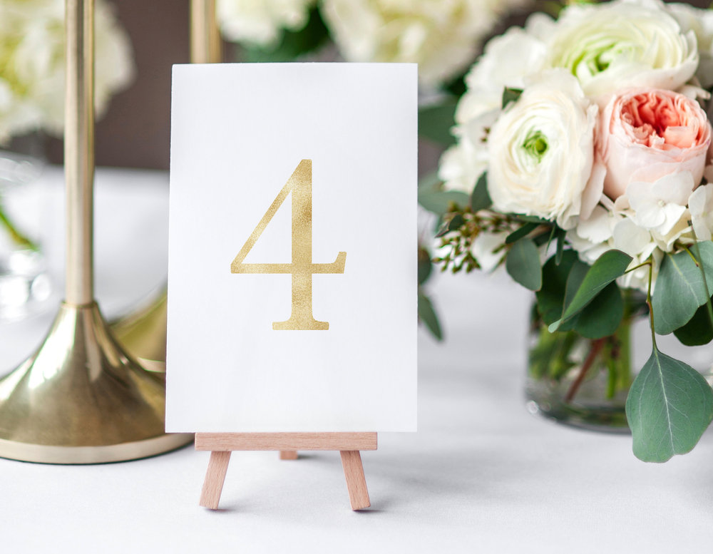 Faux Foil table numbers printable