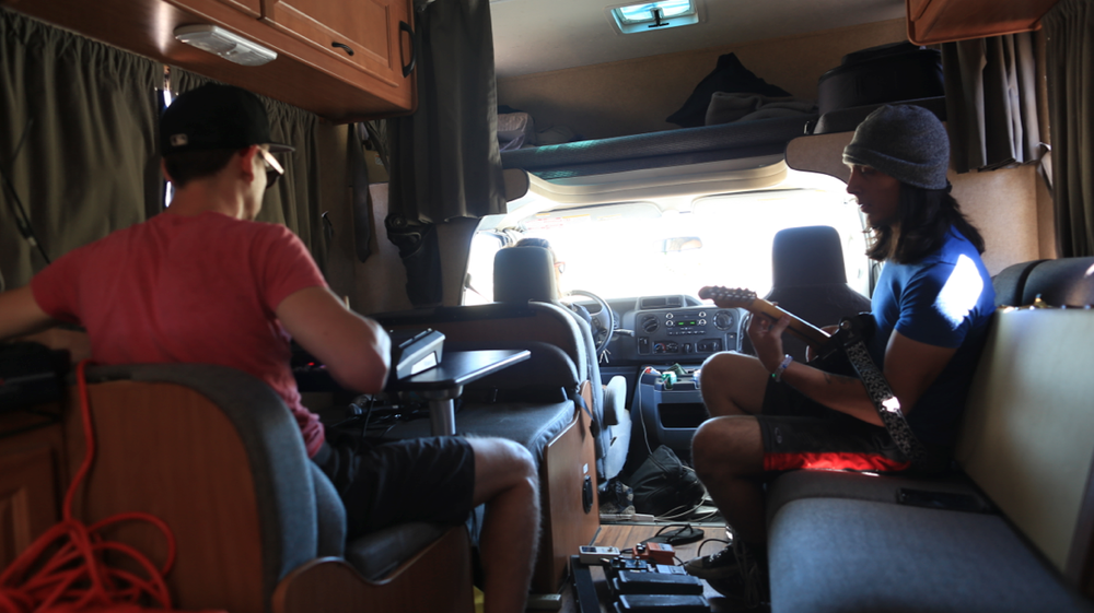 Rehearsing on the RV with @dnny and @thedimestorenovelist, @kavanthekid is the captain.