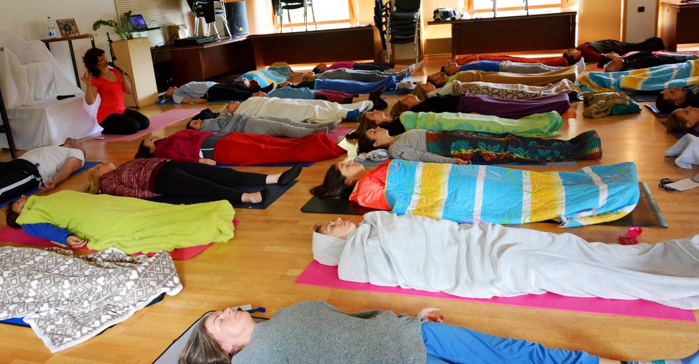 Bliss of Yoga Nidra, at the end of early morning Yoga session with Devi, Mohanji's Retreat in Andrevlje, May 2016.jpg