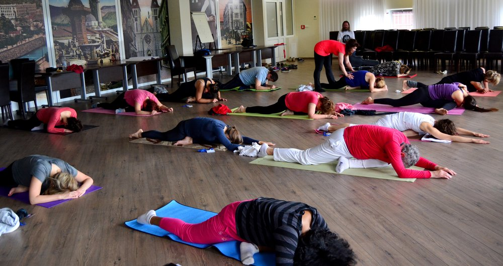 Correction of asanas, Devi's morning Yoga class at Mohanji's Retreat in Bosnia, June 2015.jpg
