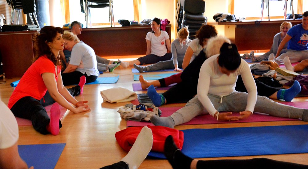 Early morning yoga with Devi, Mohanji's Retreat in Andrevlje, Serbia, May 2015.jpg