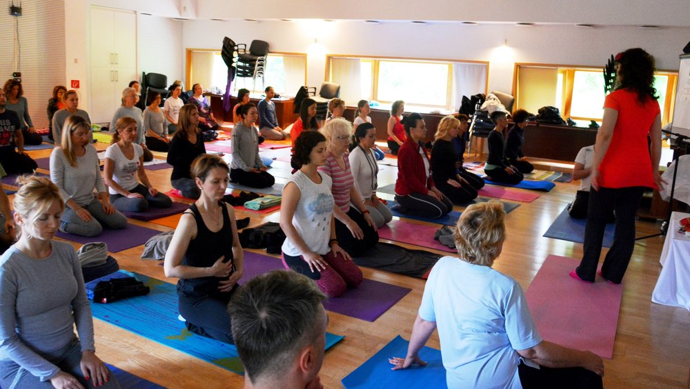 Early morning yoga and Yogic breathing with Devi, Mohanji's Retreat in Andrevlje, Serbia, May 2015.jpg