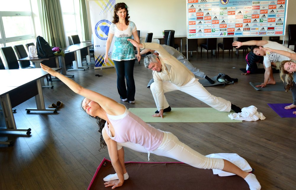 Fun moment during Devi's morning Yoga class at Mohanji's Retreat in Bosnia, June 2015.jpg