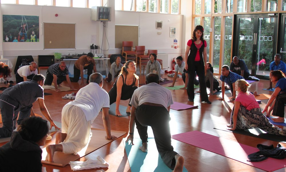 Morning Yoga with Devi, at Mohanji's Retreat in London, UK, 2015.jpg