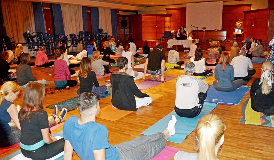 Yoga with Devi Mohan at Norcev, Serbia, during Mohanji's Weekend Program in 2015.jpg