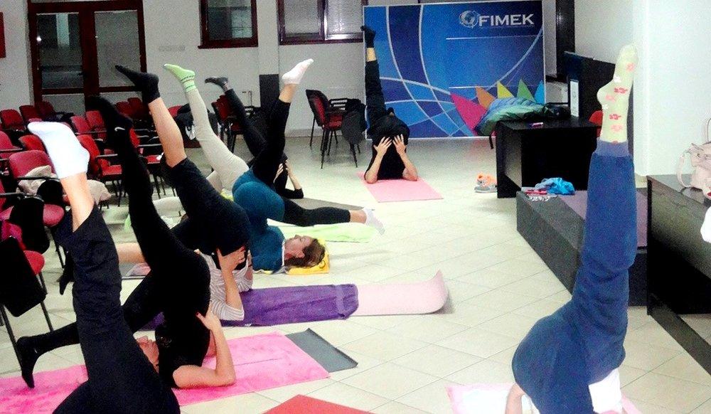 Eka Pada Sarvangasana, Yoga during Devi Mohan's seminar at the private University FIMEK in Novi Sad, Serbia, 2015.jpg
