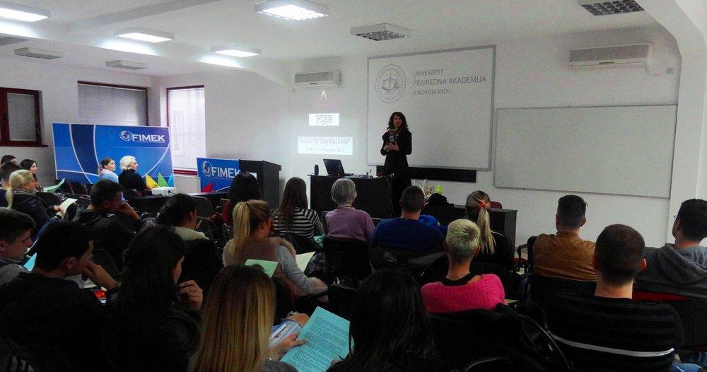 Devi Mohan's intro talk before conducting the Yoga and Pranayama seminar at FIMEK, private University in Novi Sad, Serbia, 2015.jpg