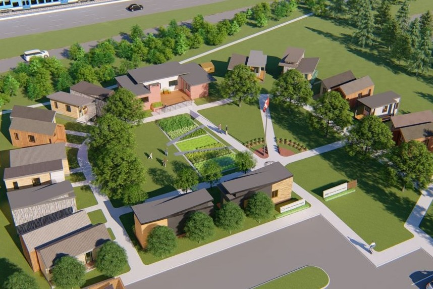 Homes for Heroes has a proposed concept for how a parcel will be turned into a community to support veterans experiencing homelessness. (Source: Homes for Heroes)
