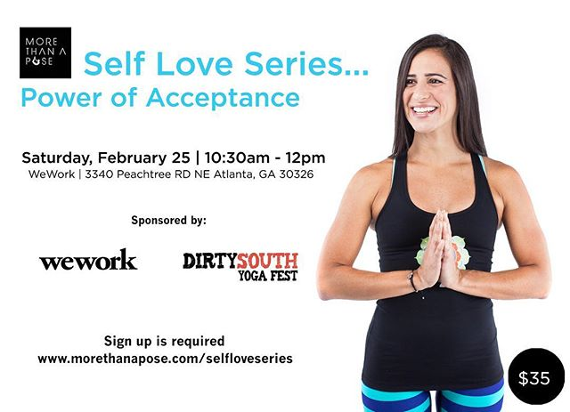 Don't forget Self love for Valentine's Day. Give this gift to yourself and friends this Valentine!  In this month of love join us for a special treat. We will explore the power of acceptance through movement in an invigorating  but soothing yoga session. @letisan, Yoga Teacher 500 RYT and Lululemon Ambassador, will be leading this session!  Date: Saturday, Feb 25th Time: 10:30am -12pm  Location: We Work Tower Place Tickets: Link in Bio! ☝️ Sponsors: Lululemon Shops of Buckhead, WeWork, and @dirtysouthyogafest  Self love with yoga, champagne, chocolates and photo fun!
