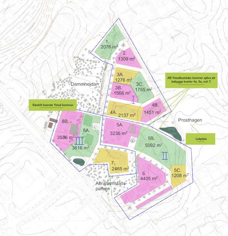 Plan of the development. Image courtesy of Ystadbostäder