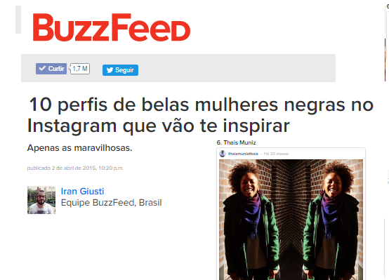 BUZZFEED BRAZIL  | 10 PROFILES OF BEAUTIFUL BLACK WOMEN ON INSTAGRM WHO WILL INSPIRE YOU