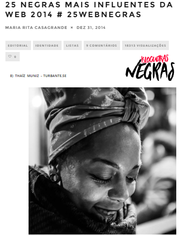 BLOGUEIRAS NEGRAS BLOG  - 25 MOST INFLUENTIAL WOMEN ON WEB IN 2014