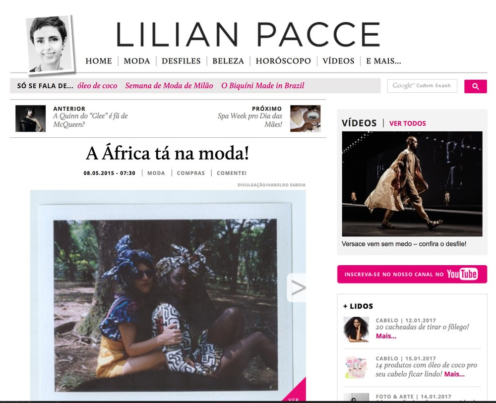 LILIAN PACCE  A ÁFRICA TÁ NA MODA