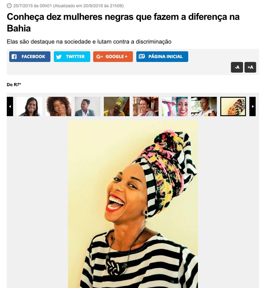 PORTAL R7 - 10 BLACK WOMEN THAT MAKES DIFFERENCE IN BAHIA