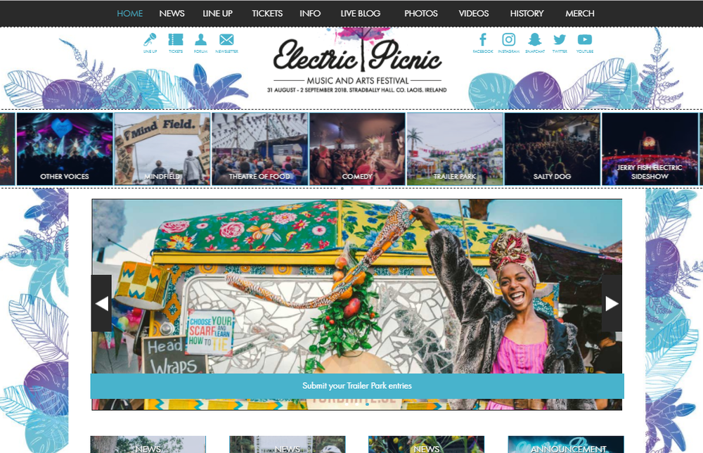 ELECTRIC PICNIC  - OUR TRAILER WAS CHOOSE TO REPRESENT THE TRAILER PARK COMPETITION 2018 ON THE BIGGEST IRISH MUSIC AND ARTS FESTIVAL.