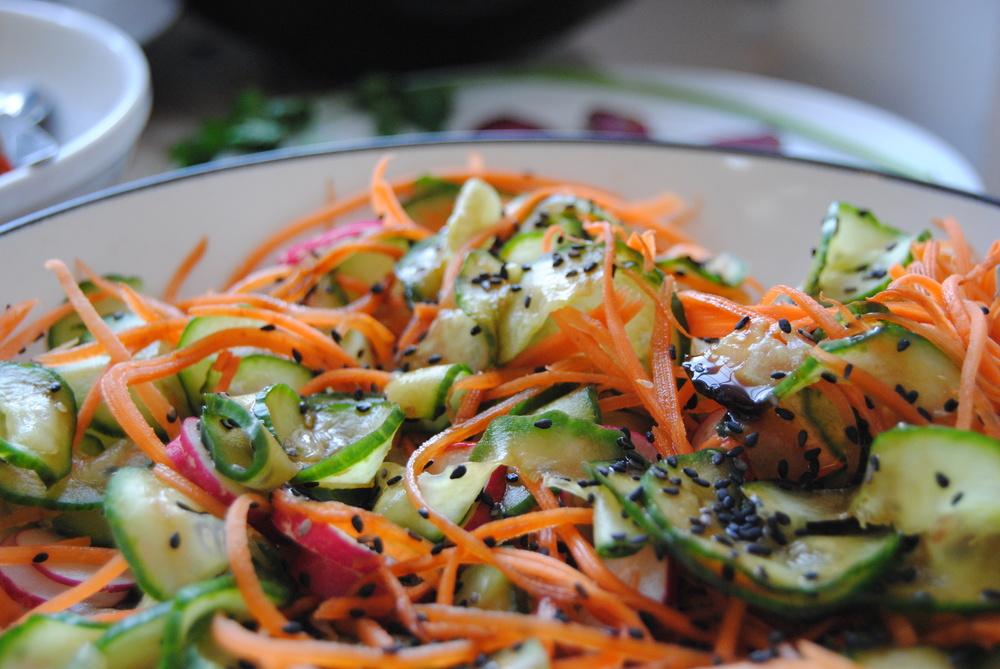 Radish, Cucumber, Miso Salad