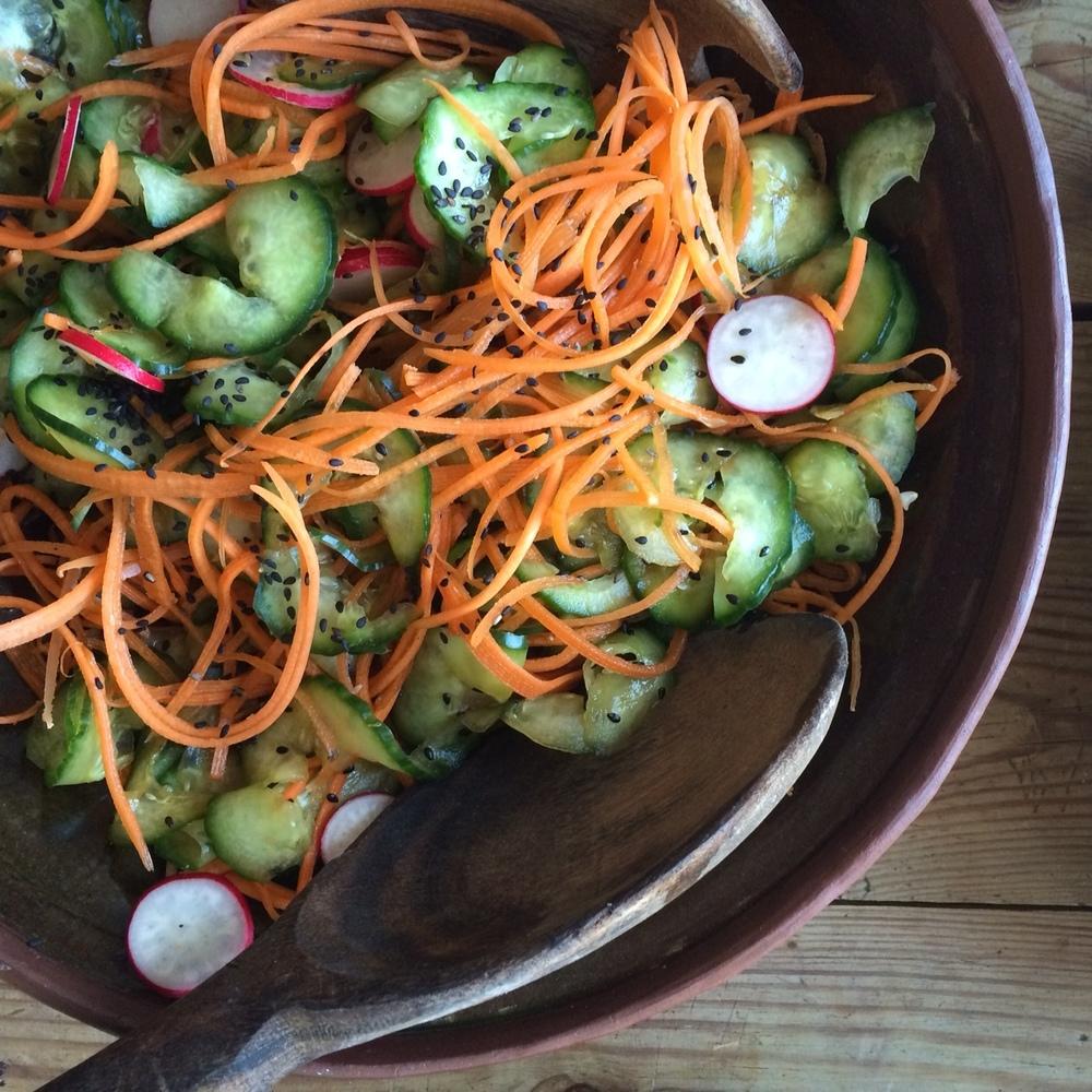 Radish Cucumber Miso salad