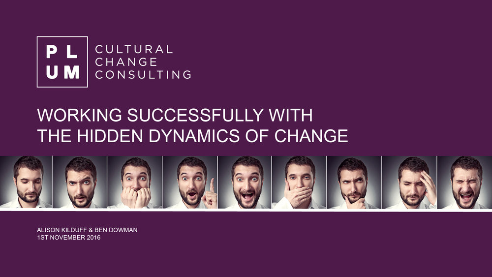Find out how to identify, and work with the Hidden Dynamics of your organisation's culture. In this TEDtalk-style presentation from Alison Kilduff and Ben Dowman,  of Plum, you'll gain insight into those underlying elements of culture that can derail change programmes....and influence people at work far more than you realised.  Take a look at the teaser    https://vimeo.com/187811166 .   This exclusive webinar will be aired on Wednesday 2nd November at 2.30pm.