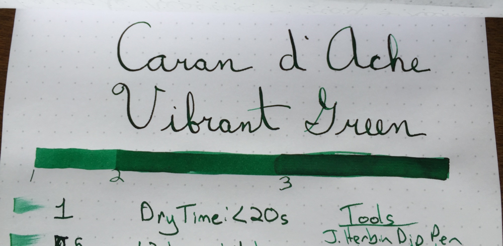 Caran d Ache Vibrant Green Ink Saturation Test.jpg